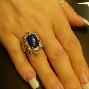 8ctw Genuine Lapis and Ruby 14kt Gold/925